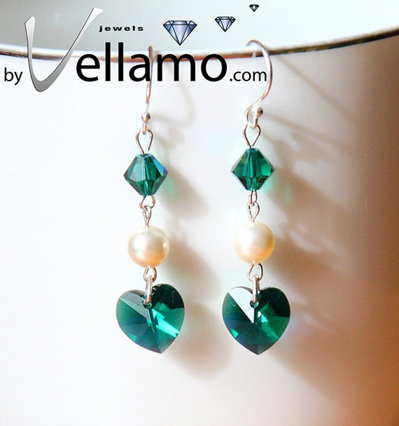 Emerald green AB Swarovski earrings, crystal hearts and Swarovski crystal pearls, sterling silver, modern dainty earrings