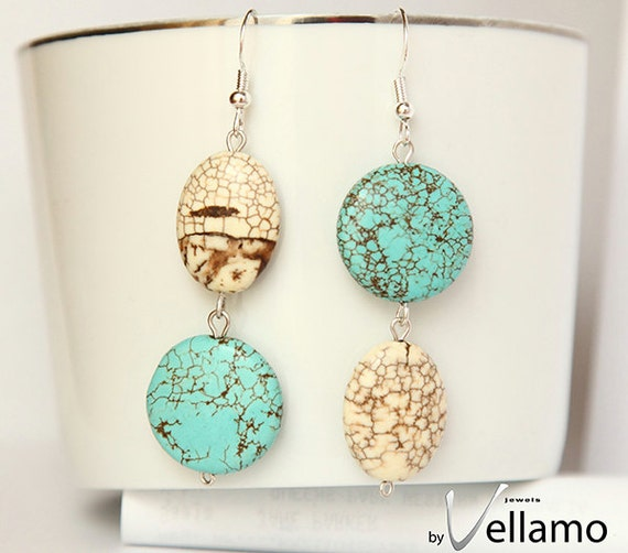 Earrings with beautiful turquoise gemstones and sterling silver, modern asymmetrical