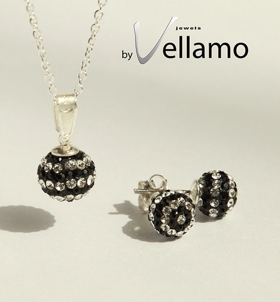 Black and white striped crystal ball necklace and earrings, sterling silver, Swarovski disco ball, pendant and stud earrings
