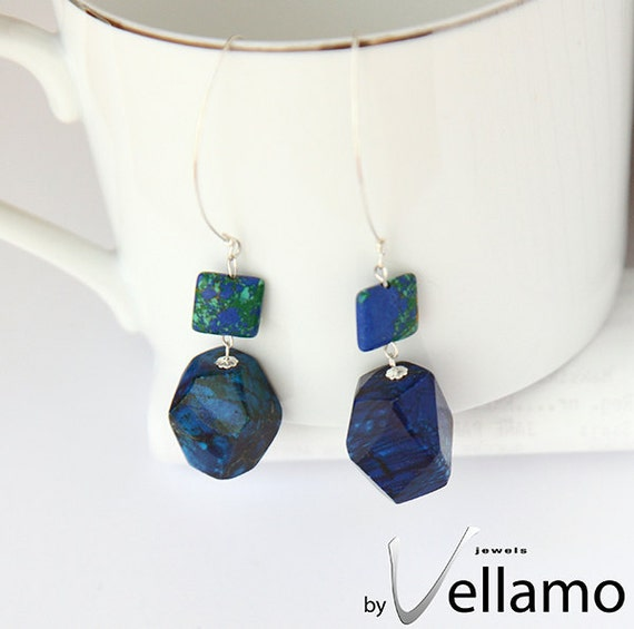 Earrings with beautiful aqua terra jasper and magnesite blue gemstones and sterling silver, modern