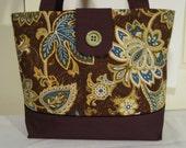 Large Tote Bag-Book Bag- Diaper Bag-Purse-Brown Tan Turquoise Green Paisley