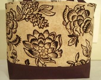 Large Tote Bag-Book Bag- Diaper Bag-Purse- Lovely Brown Creme Jacobean Floral