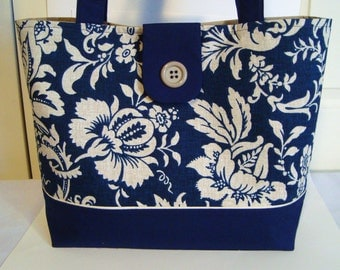 Classic Large Tote Bag-Book Bag- Diaper Bag-Purse- Lovely Navy & Creme Jacobean Floral