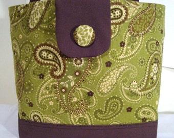 Large Tote Bag--Green Paisley Print w Brown Accents--Book Bag-Diaper Bag-Purse