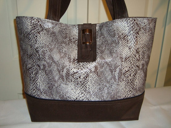 Classic Large Tote Bag-Book Bag- Diaper Bag-Purse- Lovely Brown/Faux Snakeskin print