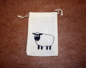 1 Screenprinted Natural Cotton Muslin Favor Gift Bag- Black and White Sheep -3.25x5