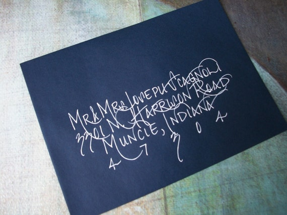 Wedding Invitation Envelope Calligraphy: Items Similar To Wedding Invitation Envelope Addressed