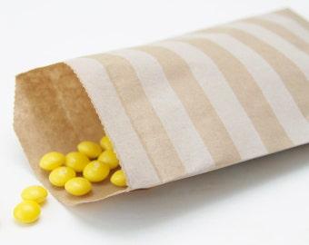 Striped Brown Kraft Paper Bags