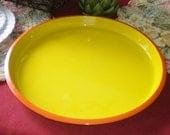Vintage Yellow Orange Mod Large Round Hard Plastic Serving Tray by ATC Japan Kitchenware Barware Crawfish Mugbugs