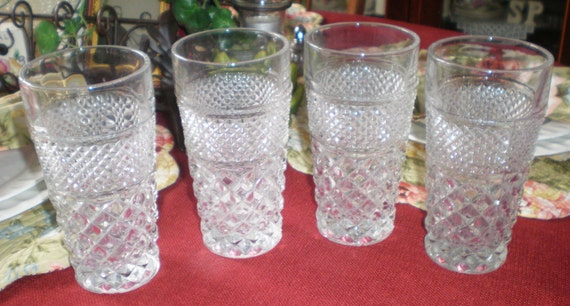 Antique Vintage Thick Pressed Glass Set of 4 Diamond Cut Drinking Glasses Tumblers Kitchenware