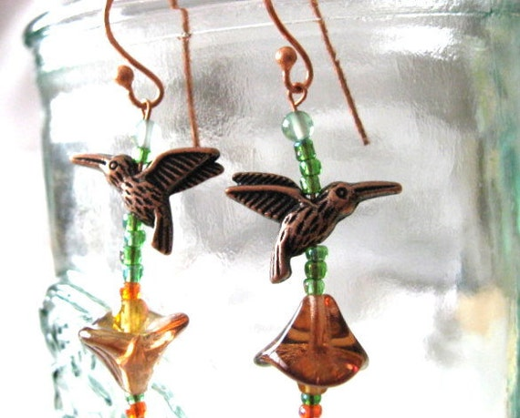 Hummingbird Earrings, crystal & copper, unique, handcrafted, OOaK