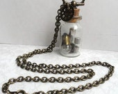 Steampunk Unisex jewelry - Glass Vial Necklace with Light bulbs and fuses - Steampunk Necklace - Upcycled Jewelry - Mens Necklace