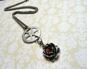 Steampunk Necklace - Rose with silver Gear - Steampunk Jewelry - Steampunk Rose - Upcycled Jewelry - Valentines Day - Valentines Jewelry