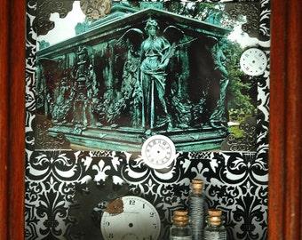 Steampunk Shadowbox, steampunk Decor, Lady Christabel, victorian Decor, Gothic Decor, Victorian Shadow box, mixed media art, ooak