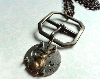 Alice in Wonderland, Steampunk Jewelry, Steampunk Watch, Alice in Wonderland Necklace, Rabbit March Hare Necklace, Steampunk Watch Necklace