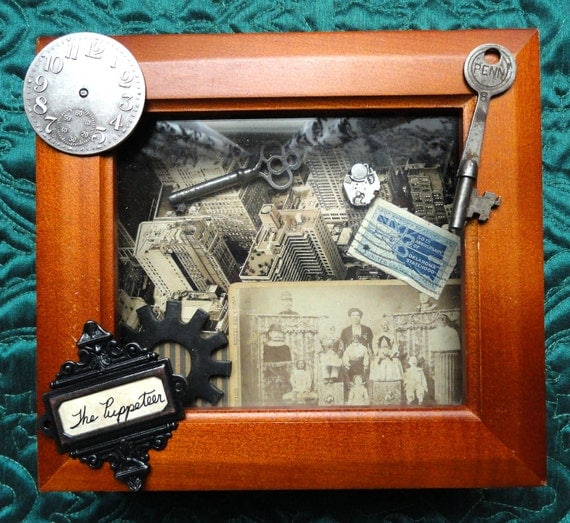 Steampunk Shadowbox, Steampunk Decor, Franklin the Puppeteer, Mixed Media Art, Steampunk Shadow box, victorian shadow box, Steampunk Collage