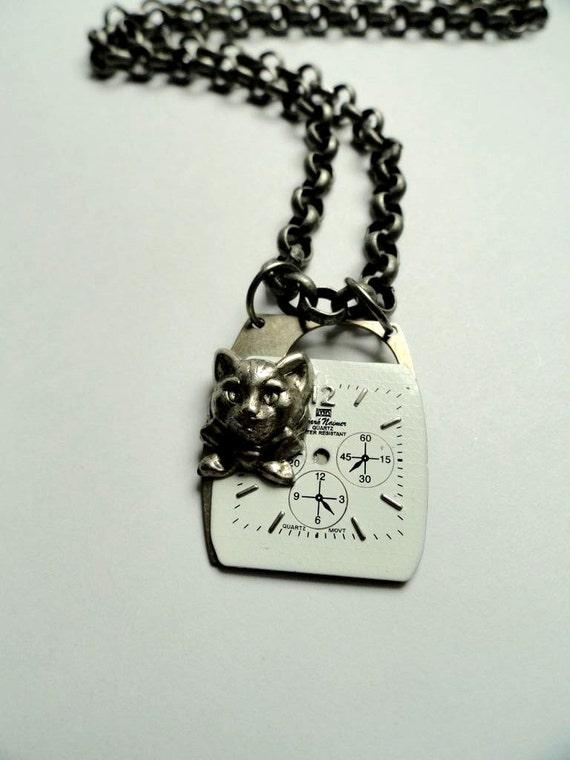 Alice in Wonderland Jewelry - Cheshire Cat Watch Face Necklace - Steampunk Jewelry - Steampunk Necklace - Watch Necklace