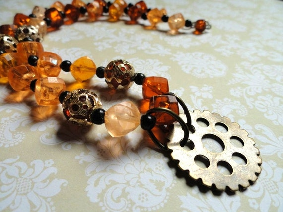 Steampunk Necklace - Beaded Gear Necklace - Steampunk Jewelry - Upcycled Jewelry - Fall Trends