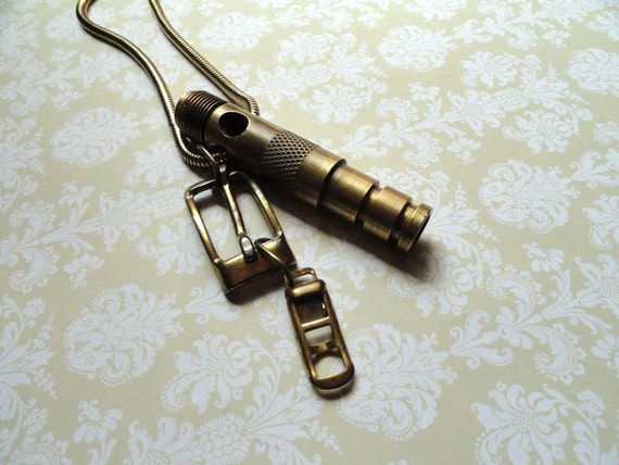 Steampunk Necklace, Steampunk Pendant with Buckles, Steampunk Jewelry, Upcycled Jewelry, Unisex Jewelry, Industrial Necklace, Mens Jewelry,
