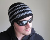 Crochet Men's Beanie Black and Grey Wave Stripes