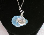 Sea Glass Silver Shell Necklace  Spring Cleaning SALE