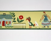 Full Vintage Wallpaper Border-TRIMZ- Farm Girl and Farmer with Cottage Rooster and Chickens