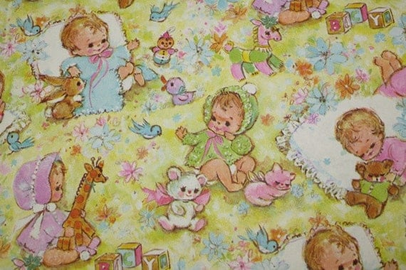 60s/70s Retro New Baby Gift Wrap, Wrapping Paper