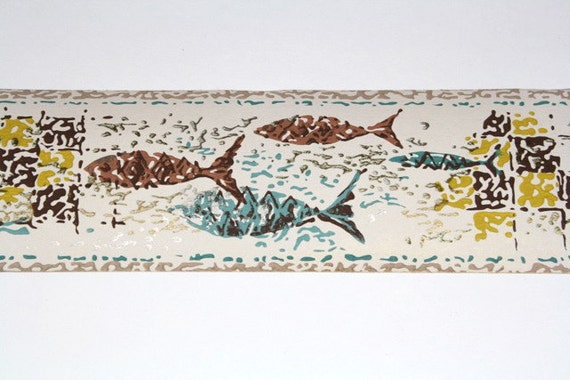 "Full Vintage Wallpaper Border-TRIMZ- Fish Border- ""Mosaic Fish"""