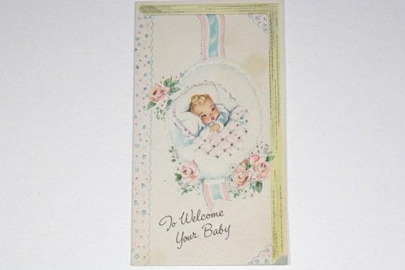 1960s New Baby Card, Newborn Congratulations, Vintage Paper Ephemera
