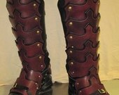 Leather Armor Gothic Plated Greaves & Sabotes
