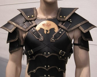 Leather Armor Ornate gothic chest back & shoulders with your graphic