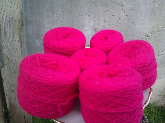 Bright Fuschia Reclaimed Wool Blend Laceweight Yarn - 611 yards