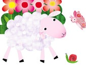 Nursery Decor, Art for kids room, Baby nursery art, nursery wall art, baby art, nursery lamb -Lamb and Butterfly - 8x10 Nursery Print