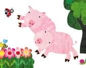 Nursery Art print, childrens art print, kids room decor,baby nursery decor,nursery wall art ,baby pig, baby farm animals- 8x10 Nursery Print