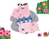 Baby wall art, kids room decor, nursery art, nursery decor, baby nursery print, kids art - Two pigs in the mad - 8x10 Nursery Print