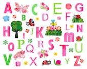 Nursery Decor, Art for kids room, Baby nursery art, baby art, nursery wall art, alphabet nursery art - pink wall art - 8x10 Nursery Print