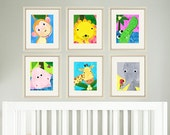 Jungle nursery print art baby art print art for nursery decor art for babies nursery animal art kids art print safari animal prints set of 6