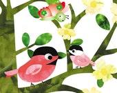 Nursery art prints,girl wall art,baby nursery decor, nursery art, kids room decor, nursery girl print nursery birds, 8x10  Nursery Print
