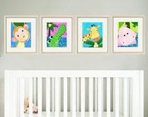 Jungle nursery print art baby art print art for nursery decor art for babies nursery animal art kids art print safari animal prints set of 4