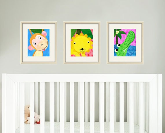 Jungle nursery print art baby art print art for nursery decor art for babies nursery animal art kids art print safari animal prints set of 3