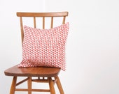 Handprinted Cushion  - 'Tumbling Pattern - Coral Colourway