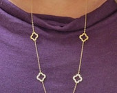 ON SALE - Van Cleef & Arpels inspired Gold 5-Clover necklace