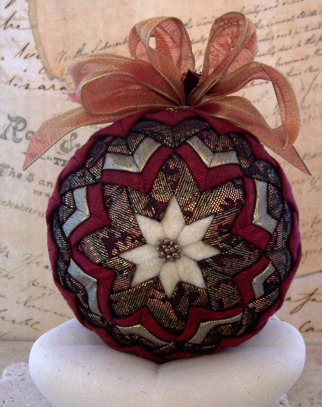 Fabric Ball Ornament Folded Star Gold Ivory Holiday Decoration