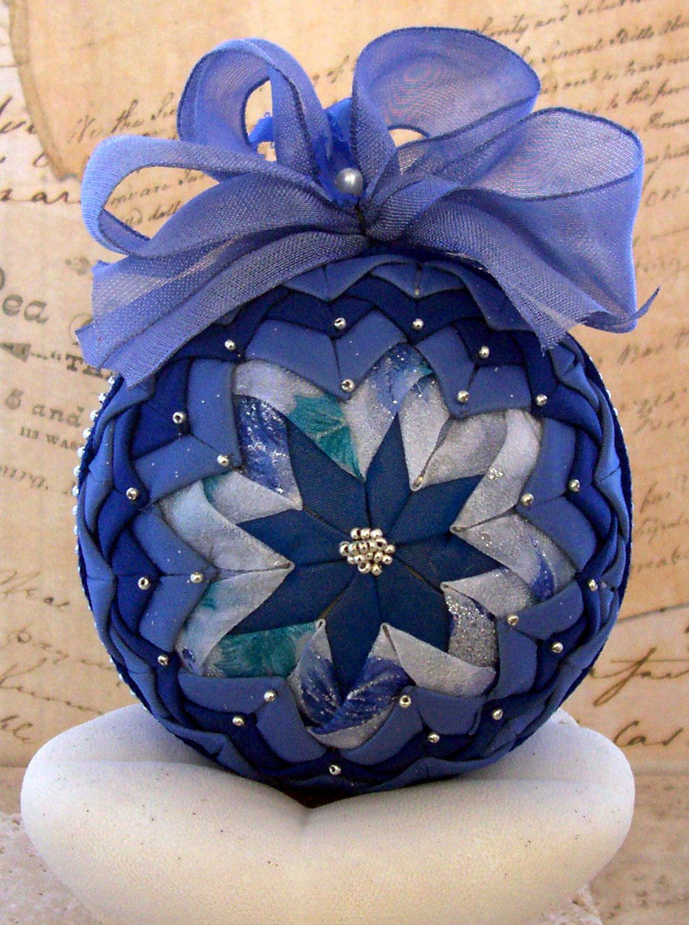 Victorian Folded Fabric Christmas Ornament