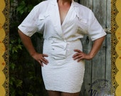 Vintage white elastic dress 1980s