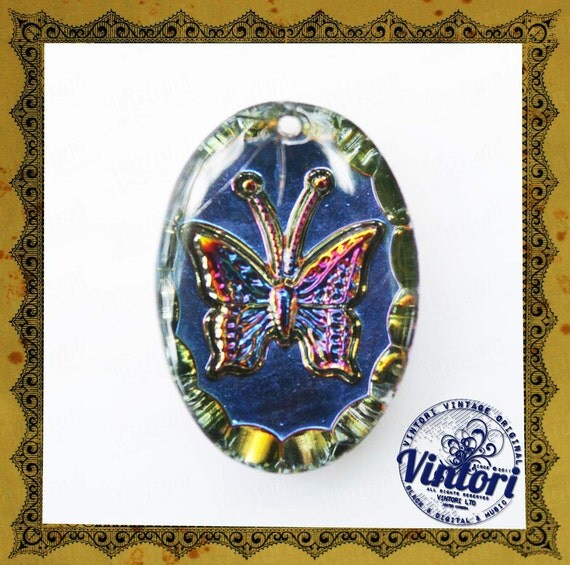 Vintage czech glass pendant with butterfly