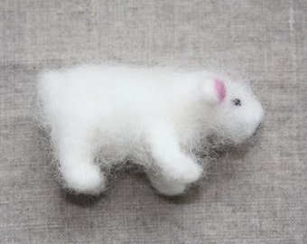 Lamb miniature - needle felted animal - soft sculpture