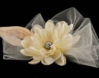 Ivory bridal hair fascinator accessory