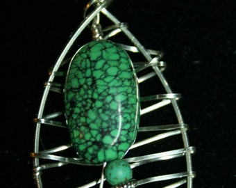 Turquoise on Wire Wrapped Web Pendant