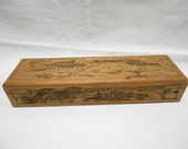 Vintage French Engraved Wooden School Pencil Box (A045)